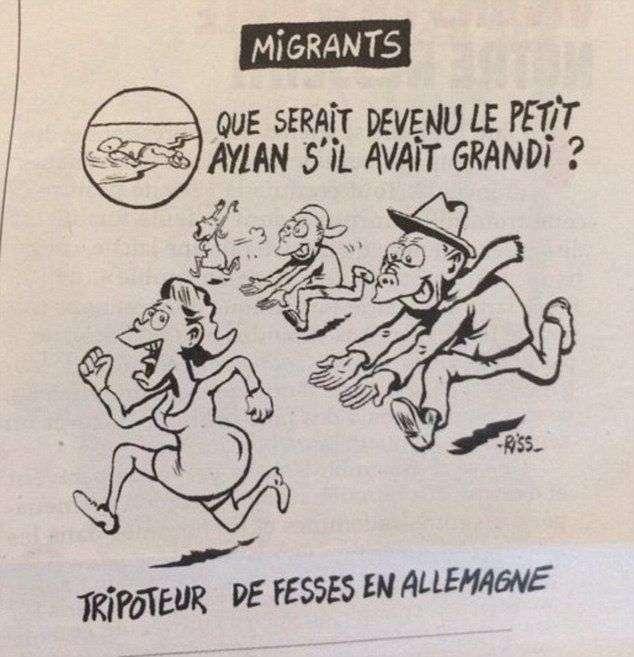 Сатиричний журнал Charlie Hebdo намалював карикатуру на потонулого сирійського хлопчика (2 фото)