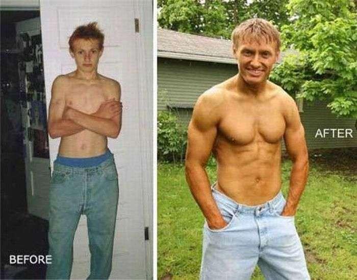 Колишні «дрыщи» на фото до і після занять в тренажерному залі (32 фото)