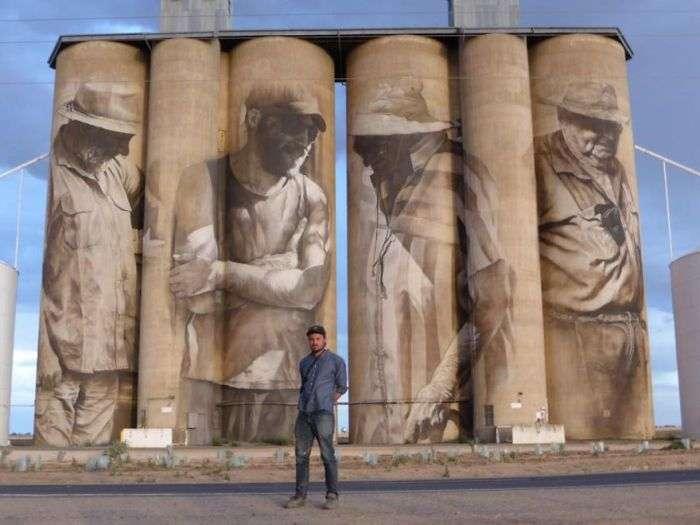 Вуличний художник Гвідо ван Хелден розписав старе зерносховище (4 фото + відео)