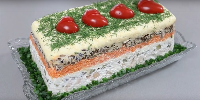 Рецепт салата с шампиньонами Кулинария,Грибы,Картофель,Майонез,Морковь,Питание,Праздники,Продукты,Салаты