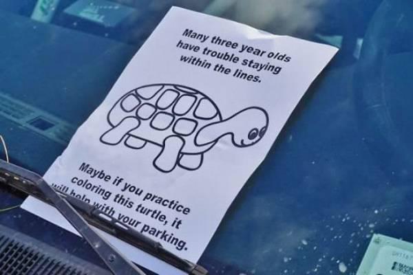 12 примеров того, как проучили не умеющих парковаться водителей Интересное