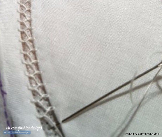 Способ соединения ткани и кружева вручную кружево,одежда,рукоделие,своими руками,сделай сам,ткань
