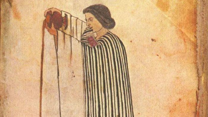 Коренной мексиканец наливает шоколад (изображение из Кодекса Тудела)