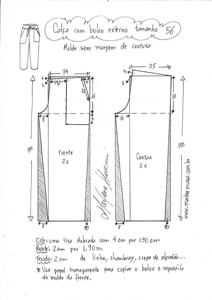 Выкройка брюк с внешними карманами від від 36 до 56 выкройка брюк,одежда,своими руками