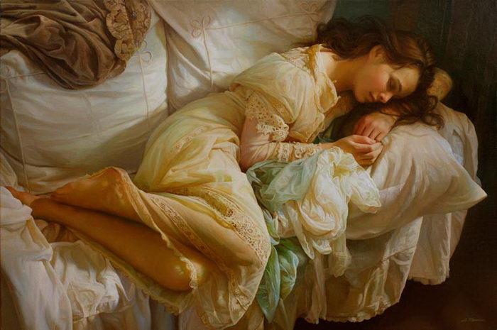 Российский художник создает полотна с девушками в стиле прошлых веков